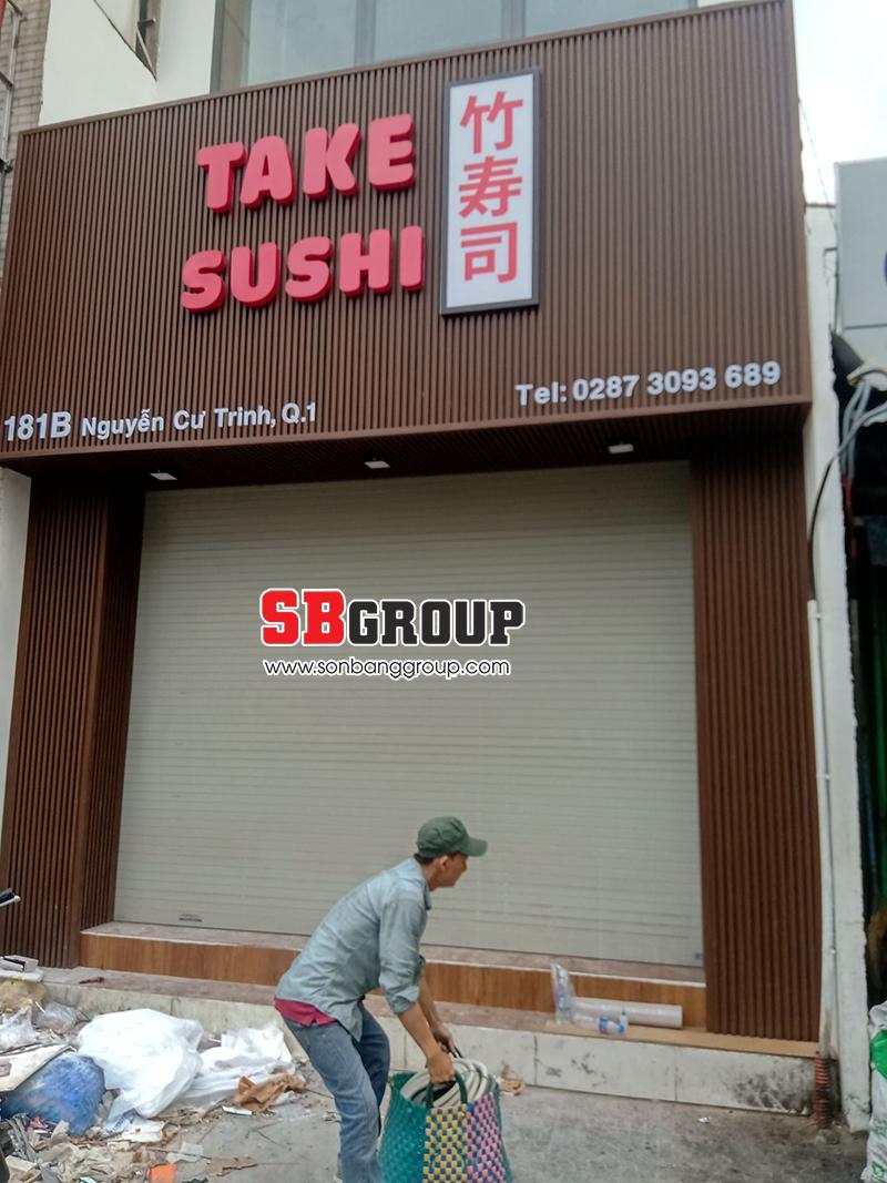 Hoàn thiện mẫu bảng hiệu Sushi đẹp tại quận 1, TPHCM